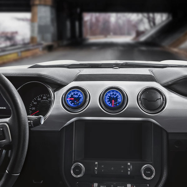 Elite 10 Color Series Dual Air Vent Gauge Package for 2015-2021 Ford Mustang Installed