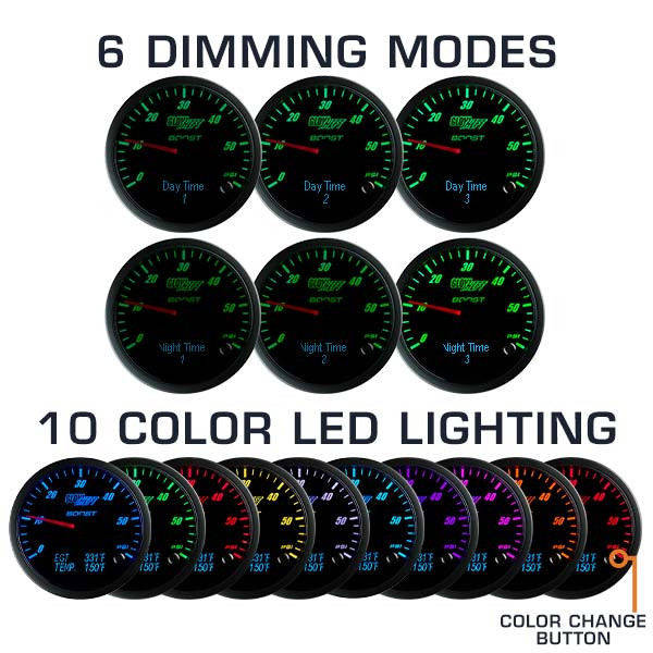 6 Dimming Modes - 10 Color LED Lighting