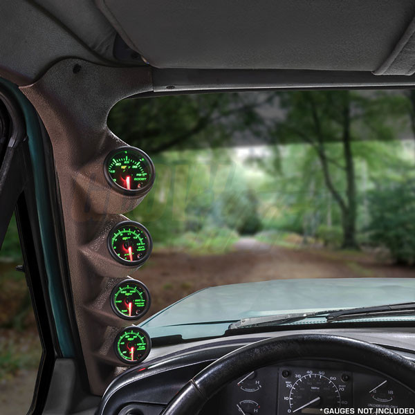 Tan Quad Pillar Gauge Pod Installed with Gauges for 1992-1997 Ford F-Series