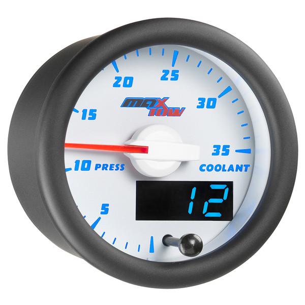 White & Blue MaxTow 35 PSI Coolant Pressure Gauge