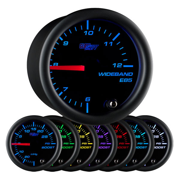 Black 7 Color Analog E85 Wideband Air/Fuel Ratio Gauge