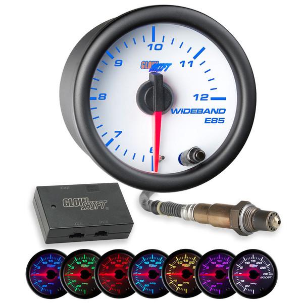 White 7 Color Analog E85 Wideband Air/Fuel Ratio Gauge