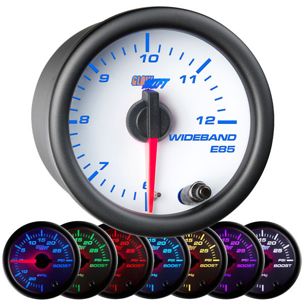 White 7 Color Analog E85 Wideband Air/Fuel Ratio Gauge
