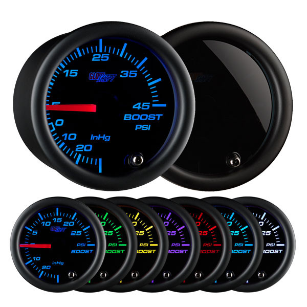 Tinted 7 Color 45 PSI Boost/Vacuum Gauge