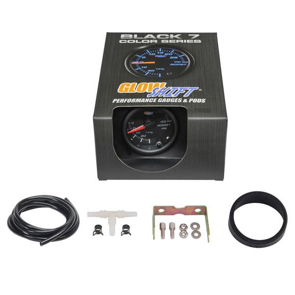 GlowShift Black 7 Color 45 PSI Boost/Vacuum Gauge Unboxed