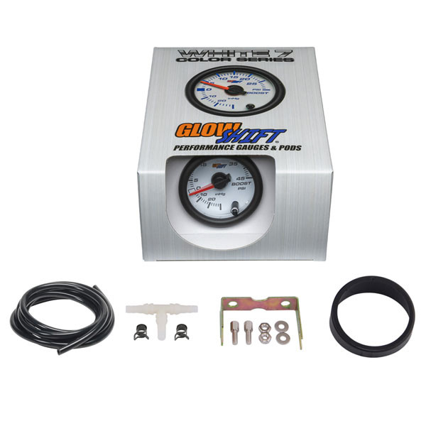 GlowShift White 7 Color 45 PSI Turbo Boost/Vacuum Gauge Unboxed