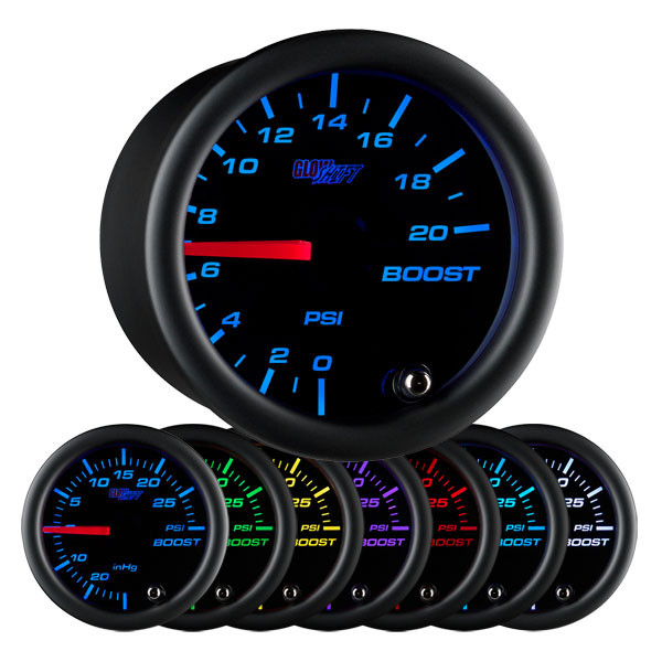 Black 7 Color 20 PSI Boost Gauge