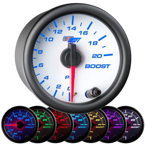 White 7 Color 20 PSI Boost Gauge