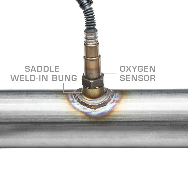 Wideband Air/Fuel Ratio Oxygen Sensor Weld-In Saddle Bung Installed