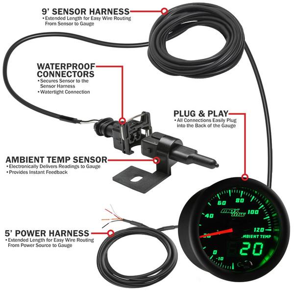 MaxTow Ambient Air Temperature Gauge Parts & Wiring Schematic