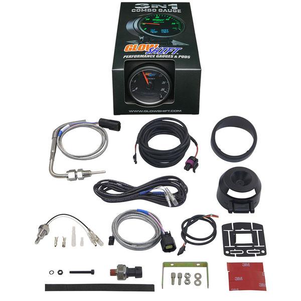 3in1 Black Analog 35 PSI Boost w/ Digital Exhaust Temp & Temperature Gauge