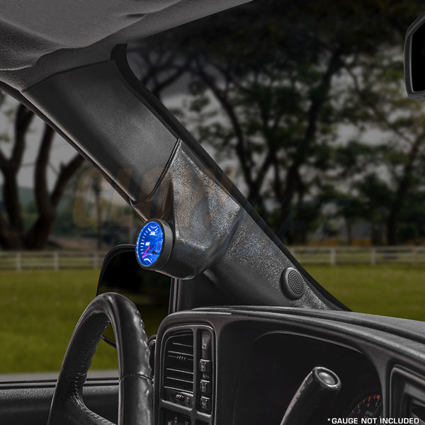 60mm Black Single Pillar 3in1 Gauge Pod with Speaker Cutout for 2000-2006 Chevrolet Silverado Duramax
