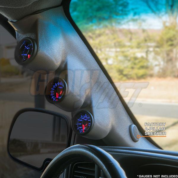 2000-2006 Chevrolet Silverado Duramax Gray Triple Pillar Pod with A-Pillar Speaker Side View Installed