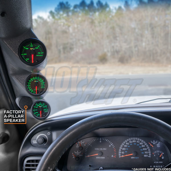 Gray Triple Pillar Gauge Pod for 1998-2002 Dodge Ram Cummins with Speaker Cutout Option Installed