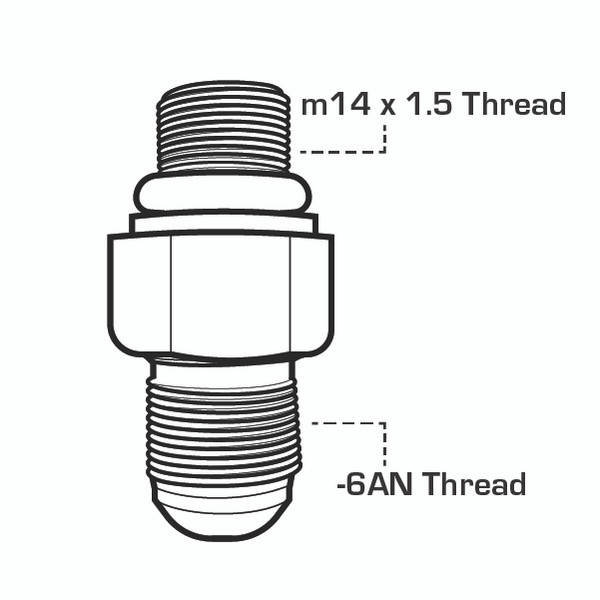 6 AN x 14mm Fuel Line Adapter Drawing