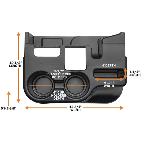 Dimensions for Add-On Cup Holder