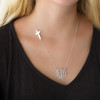 Script Initial Necklace with Cross│HandPicked
