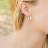 Classic Sterling Silver Tube Hoop Earring with Clip 2mm X 20MM