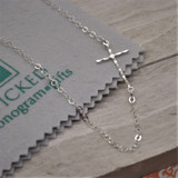 """Hammered HandPicked Exclusive 1"""" Horizontal Hammered Silver Cross Necklace"""