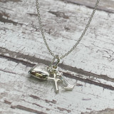 Hope, Faith, Charity - Sterling Silver Anchor, Heart, Cross Charm Necklace