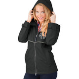 Charles River Black Monogram Rain Jacket │HandPicked