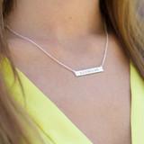 Sterling Silver Coordinates Necklace, Monogram Bar Necklace