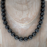 12mm Large Classic Glass Pearl Necklace - Fashion BLK