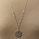 HP Exclusive Design -Sterling Hammer Disc Link Chain Long Necklace