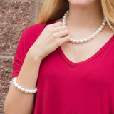 """8mm Classic HandPicked Glass Pearl Fashion Necklace - Exceptional Quality 16""""+3"""""""