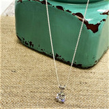 """Round 8mm CZ Solitaire on Dainty Chain 16"""" Sterling Silver"""