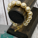Hand Knotted 12mm Glass Pearl Bracelet With Toggle - Cream