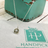 """Little Eden Tiny 1cm Rope Edge Cross Pendant on Chain - HandPicked Original Sterling Silver Necklace 16"""" + 2"""""""