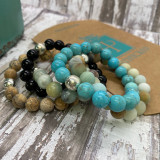 HP Exclusive Soothing Touch Sterling Bead Stone Stretch Bracelet - Matte Amazonite