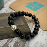 HP Exclusive Soothing Touch Sterling Bead Stone Stretch Bracelet - Shiny Onyx