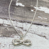 """Sterling Silver Infinity Necklace - Dainty Small Charm on 16"""""""