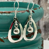 """Bead Dangle in Organic Geo Shape Unique Design - 1.2""""  HP Artisan Crafted Sterling Silver Earrings"""