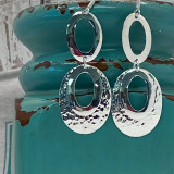 """Plain & Hammered Statement Ovals Unique Design - 2.25""""  HP Artisan Crafted Sterling Silver Earrings"""