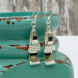 """Wavy Triangle Bars Plain and Hammer Unique Design - 1.5""""  HP Artisan Crafted Sterling Silver Earrings"""