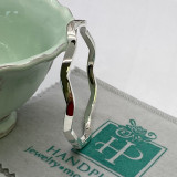 """Wavy Plain Squared Edge Silver Round Bangle - 5mm x 2.75"""" diameter  -  HP Artisan Crafted Sterling Silver Bracelet"""