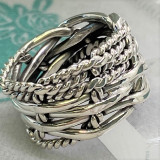 Rope & Twine Weave Sterling Silver Artisan Crafted 14mm Band Ring