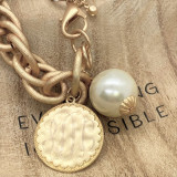 Back in Stock!  Monogram Disc Bracelet with Pearl - Fashion Gold