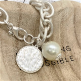Back in Stock!  Monogram Disc Bracelet with Pearl - Fashion Silver