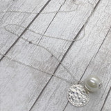 Back in Stock!  Long Monogram Disc with Pearl Necklace - Fashion Silver