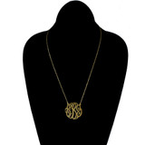 Gold Plated Sterling Silver 14K Gold Plate 1.5 inch Monogram Cutout Script Necklace