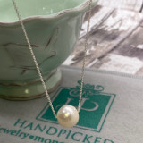 """Single 8-9mm Freshwater Pearl on Sterling Chain - 16"""""""