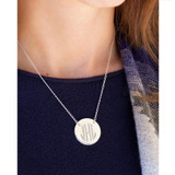 """Artisan Crafted Suspended 1"""" Monogram Disc on Split Chain -  Sterling Silver 16""""+ 2"""""""