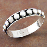 Sterling Oxidized Beaded Bangle- Artison Crafted