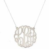 2.5 inch - Sterling Silver Script Monogram Cutout Pendant Necklace