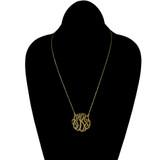 14K Solid Gold 1.5 inch Monogram Cutout Script Necklace
