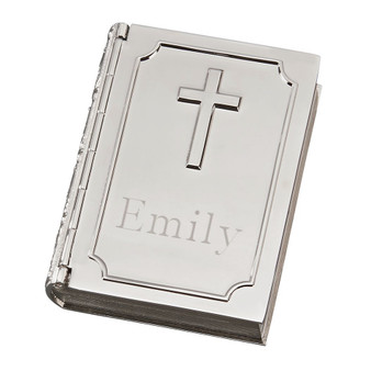 Monogram Bible Shaped Trinket Box with Cross